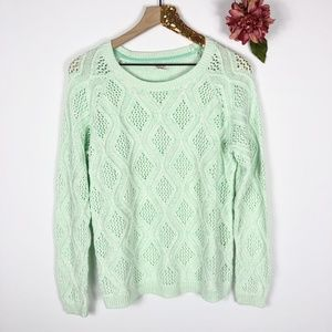 [SONOMA] Green Cable Knit Sweater